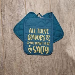 Pocket pot holder set Turquoise Salty